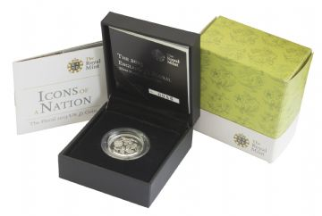 2013 Silver Proof Piedfort Floral England One Pound